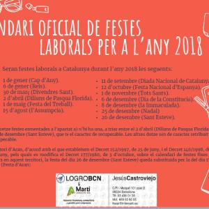 Calendari oficial de festes laborals per a l'any 2018